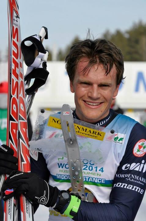 Hans Jørgen smiling after the bronze. Photo: Nordenmark Adventures