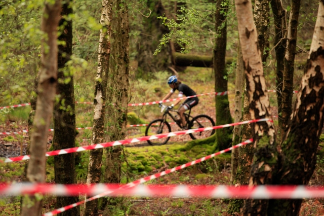 Between the trees as the course zigzags through every available puddle! Photo by Nigel Benham